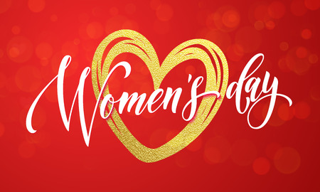 gold woman: Women Day gold heart and glitter on premium luxury red background. 8 March Woman holiday text lettering for greeting card