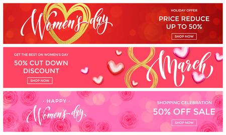 schönheit: Frauen Day Verkauf Goldglitter Online-Shopping-Web-Banner-Vorlagen. Goldene Herzen und Blumen Rabatt Prozent Angebot für Premium-Luxus-Shopping-Promo-Feier am 8. März
