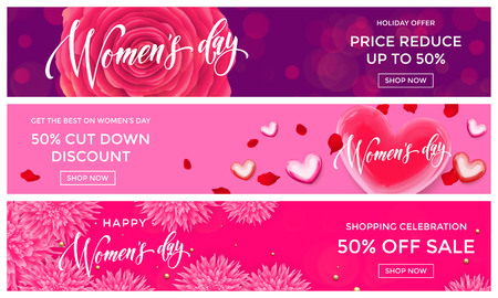 day: Women Day sale shopping web banner gold glitter templates. Golden hearts and flowers discount percent offer for premium luxury online shopping promo celebration on 8 March