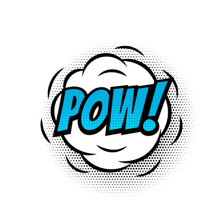 Pow comic text bubble vector isolated color icon