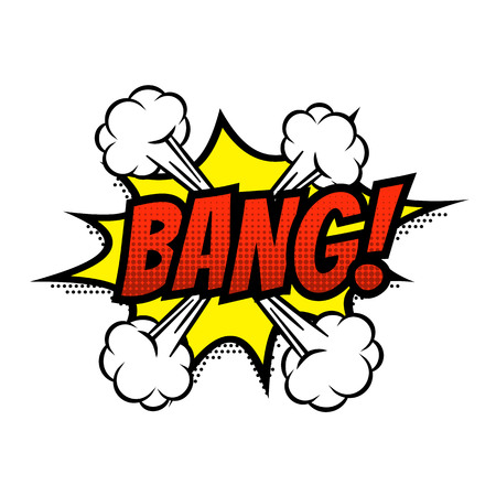 Bang comic text bubble vector isolated color icon Illustration
