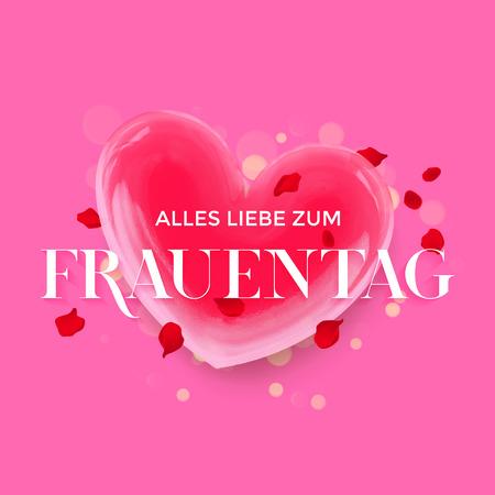 Women Day German Frauentag 3d heart greeting card Illustration