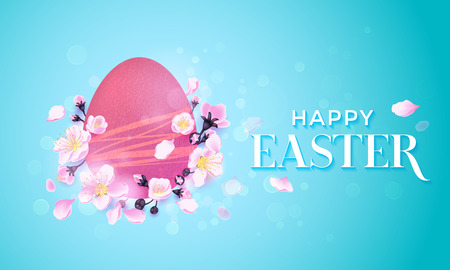 greeting card background: Happy Easter Paschal egg in flowers vector greeting card background