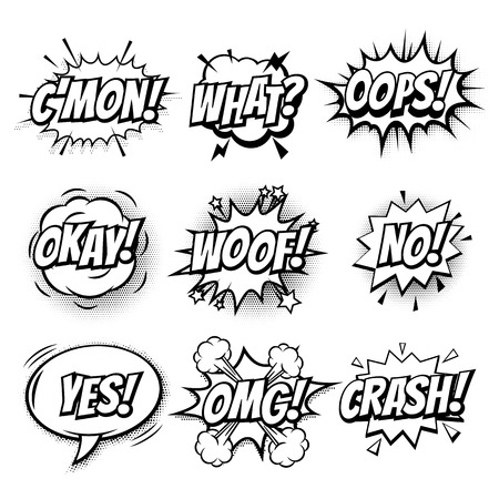 Comic text bubbles vector isolated sketch icons set Vektorové ilustrace