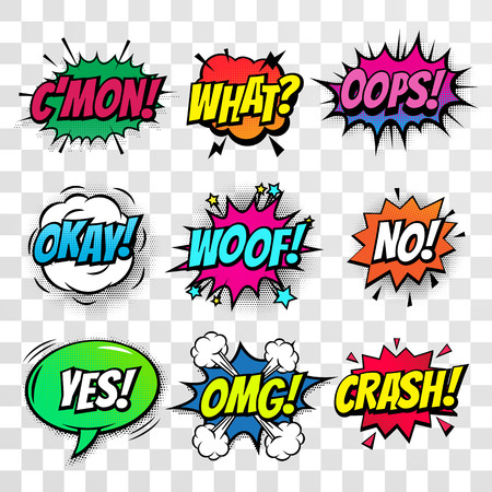 Comic text bubbles vector isolated icons set
