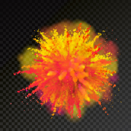 Paint powder explosion on transparent background. Purple dust explode for celebration or holiday design element