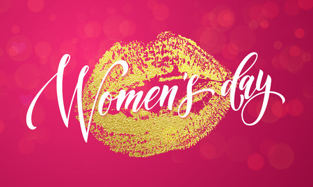 gold woman: Women Day gold kiss lips print and glitter on premium luxury red background. 8 March Woman holiday text lettering for greeting card