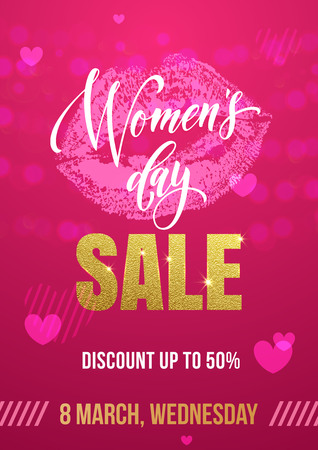gold woman: Women Day sale poster of gold glitter lips kiss print and heart pattern on luxury red background for 8 March Woman holiday discount Illustration