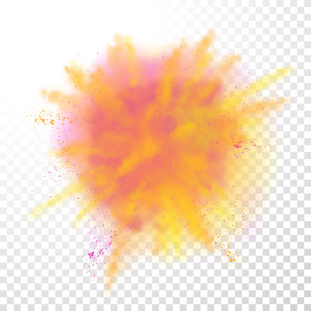 Paint powder explosion on transparent background. Purple dust explode for celebration or holiday design element Ilustrace