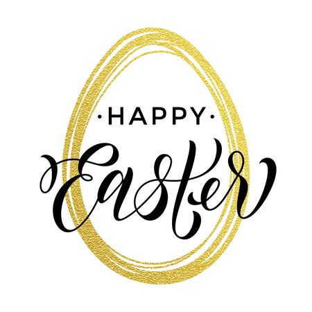 the christian religion: Happy Easter gold glitter egg and text lettering for paschal greeting card on white background