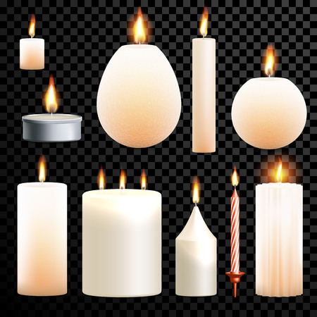 paraffin: Candles flames set 3D realistic isolated burning on vector transparent background. Decorative scented paraffin wax candle light and candlestick ot tea light Illustration