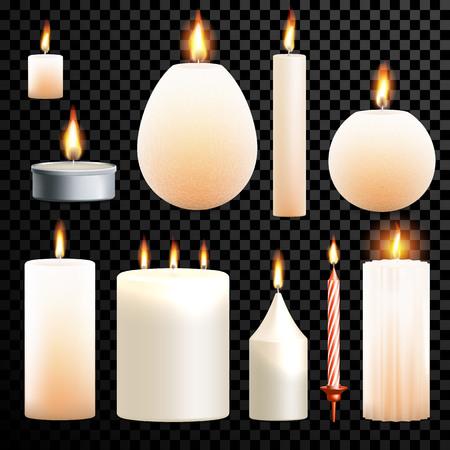 Les flammes clignotantes définissent la gravure 3D réaliste isolée sur fond transparent vectoriel. Bougie décoration parfumée à la paraffine et à la cire et chandelier à thé Vecteurs