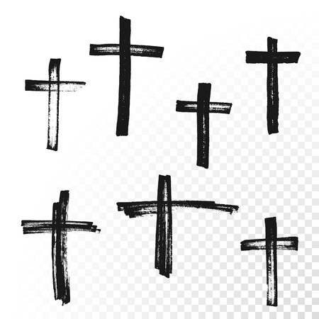 graves: Crucifix cross hand drawn paint brush vector icon. Christianity orthodox or catholic religion isolated symbols set for Easter, funeral or grave memorial