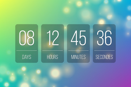 Countdown web site vector flat template flip style clock timer background for coming soon or under construction transparent design Stock Illustratie