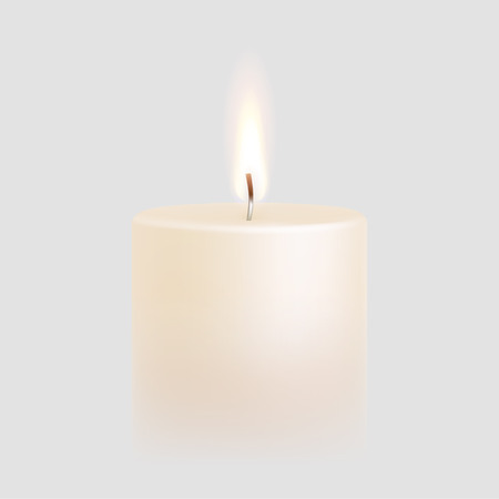 paraffin: Candle flame burning on vector white background. 3D realistic isolated scented paraffin wax candle light