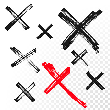 Hand drawn X cross reject or cancel mark or criss-cross sign. Hand drawn paint brush or red highlighter crossed lines vector icons set for rejection or no choice and refuse symbol