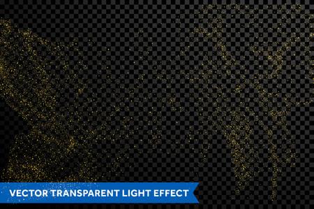 Glitter gold particles light shine effect on transparent vector background Illustration