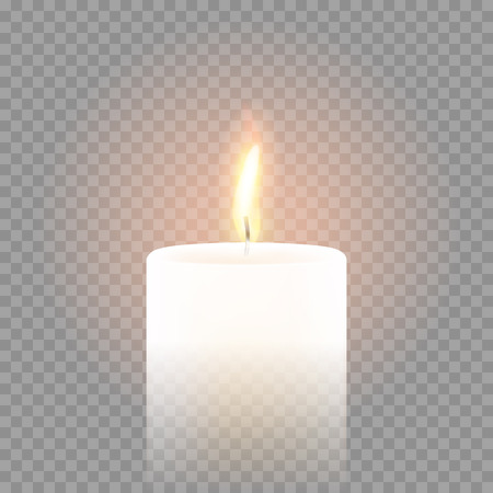 Candle flame burning on vector transparent background. 3D realistic isolated white scented paraffin wax candle light Vettoriali