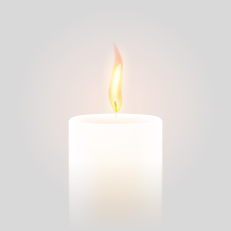 Candle flame burning on vector white background. 3D realistic isolated scented paraffin wax candle light