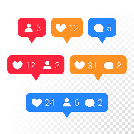 number icons: Notifications vector icons templates. Social network app symbols of heart like, new message bubble, friend request quantity number. Smartphone application messenger interface web notice elements set Illustration