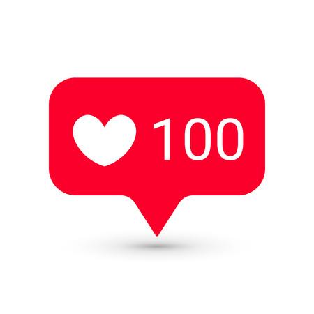 Plantillas de iconos de notificaciones. Los símbolos sociales de la aplicación de la red del corazón tienen gusto número de la cantidad. Interfaz de mensajería de aplicación de teléfono inteligente elemento de aviso web