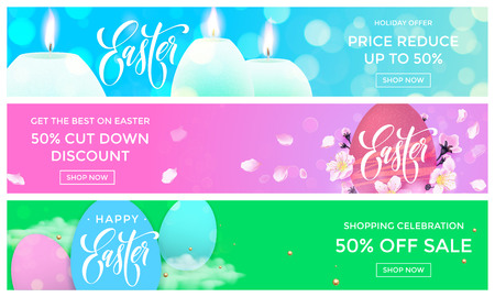 web store: Easter sale web banners vector templates for online store holiday promo shopping. Paschal eggs, flowers and candles on springtime premium luxury Easter background design