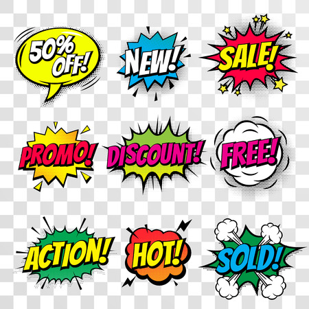 offer icon: Sale promo discount shopping comic text speech bubble isolated percent off offer icon templates set. Sound effect cloud of color phrase lettering elements on transparent background Illustration