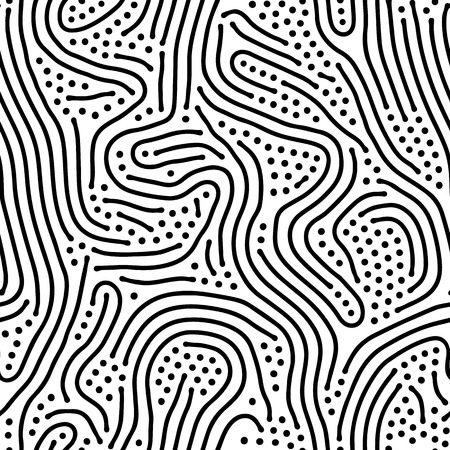 white: Abstract background of vector organic irregular lines maze pattern. Black and white chaotic design Illustration