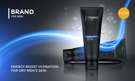 Modello vettoriale di pubblicità del pacchetto cosmetico per la crema del fronte della cura della pelle degli uomini o dopo il tubo di lozione della crema idratante della barba su priorità bassa per il disegno del prodotto