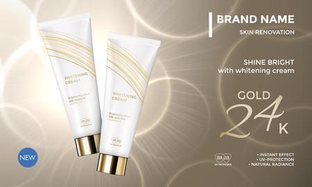 Paquete de cosméticos plantilla de vectores de publicidad para el cuidado de la piel crema de la cara del tubo de crema en la prima de fondo de oro radiante para el diseño del producto