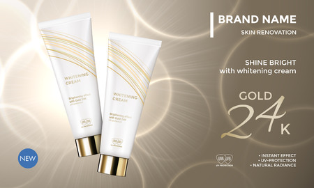 Cosmetic package advertising vector template for skin care moisturizer face cream tube on premium radiant gold background for product design