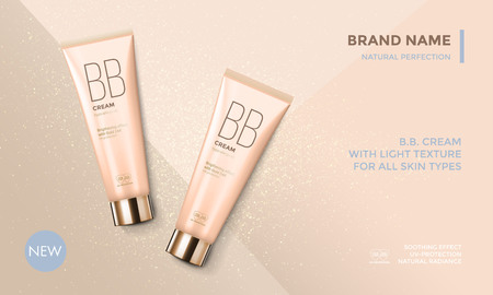 Cosmetic package advertising vector template for BB face cream or skin care moisturizer tube on premium radiant gold glitter background for product design