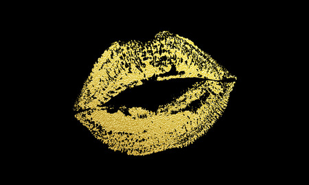 Gold kiss lips imprint of golden glitter lipstick print. Vector isolated element on black background for fashion cosmetics, weddings or valentine day design Ilustração