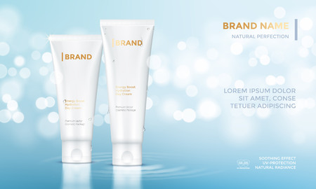 modèle de vecteur publicitaire paquet cosmétique pour crème visage soins de la peau de femme ou d'un tube de crème hydratante sur fond flou bokeh l'eau bleue prime pour la conception des produits Vecteurs