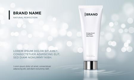 Cosmetische verpakking of gezichtscrème product reclame vector sjabloon ontwerp. Vrouw huidverzorging of moisturizer lotion buis op premium achtergrond met sprankelend water en licht splash effect