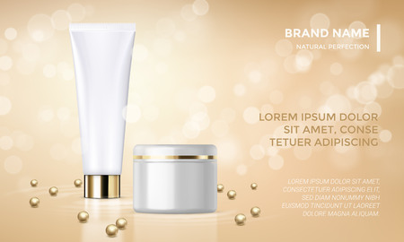 skin care woman: Cosmetic package or face cream product advertising vector template design. Woman skin care or moisturizer lotion gold tube and jar on premium background with sparkling light and golden pearl beads