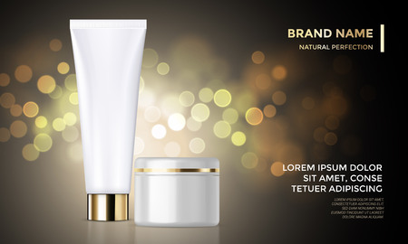 Cosmetic package or face cream jar premium product advertising vector template design. Woman skin care or moisturizer tube on golden sparkling background with light blur effect Illustration