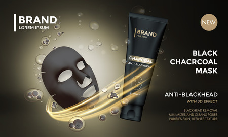 beauty mask: Cosmetic package vector advertising design template of facial charcoal anti blackhead mask. Woman premium skincare product of luxury black tube on golden sparkling background Illustration