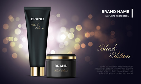 Cosmetic package or woman face cream premium product advertising vector template design. Skincare moisturizer black luxury tube and jar on golden sparkling background with light blur effect Vectores