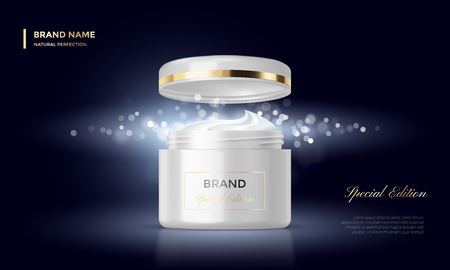 cosmetics background: Cosmetic package or woman face cream premium product advertising vector template design. Skincare moisturizer black luxury tube and jar on golden sparkling background with light blur effect Illustration
