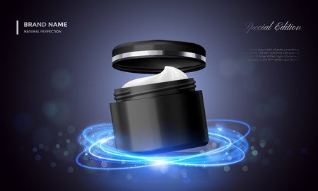 Cosmetic package advertising template of vector black premium cream jar with cap and blue glitter effect. Luxury skincare product background for woman face cream design Stock Illustratie