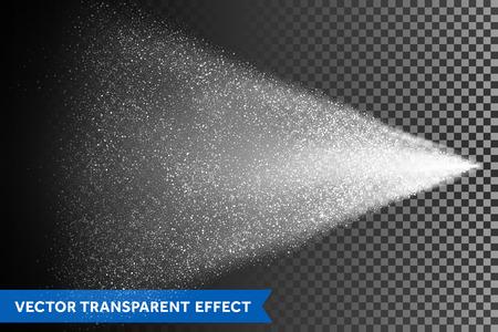 Niebla de rociado de agua del atomizador. Vector efecto de dispersión de luz. Ilustración cosmética sobre fondo transparente Ilustración de vector