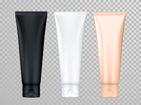 advertising design: Cream or lotion tubes vector isolated templates set for skin care product. Premium face moisturizer packages on transparent background