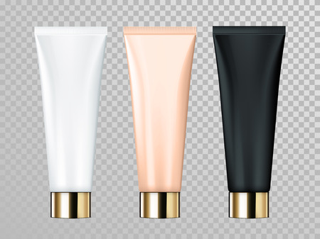 Cream or lotion tube vector isolated template for skin care product. Premium face moisturizer packages set with golden cap or lid on transparent background Zdjęcie Seryjne - 75283220