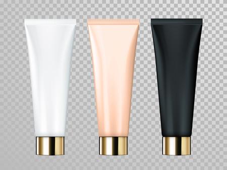 Lokalisierte Schablone des Sahne- oder Lotionrohrvektors für Hautpflegeprodukt. Premium Gesichtspflegepackungen mit goldener Kappe oder Deckel auf transparentem Untergrund Standard-Bild - 75283220