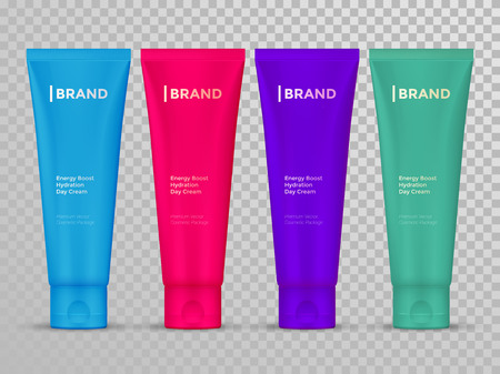 moisturizer: Cream or lotion tubes vector isolated templates set for skin care product. Premium face moisturizer packages on transparent background