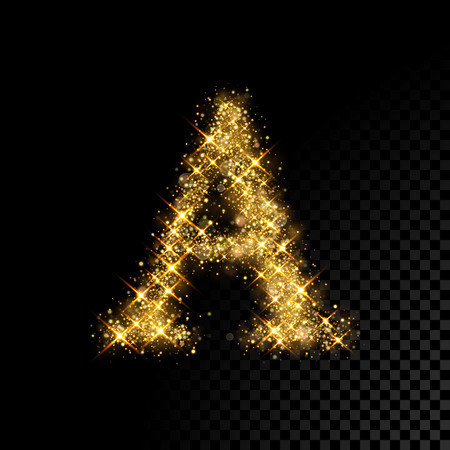 Gold glittering letter A on black background