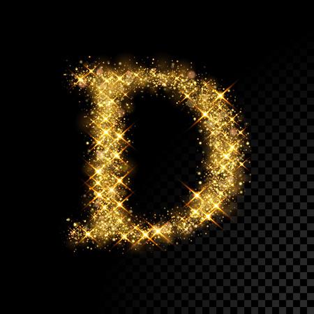 Gold glittering letter D on black background