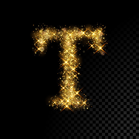 Gold glittering letter T on black background
