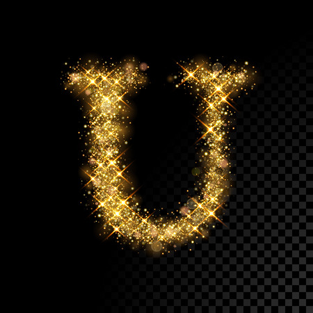 Gold glittering letter U on black background